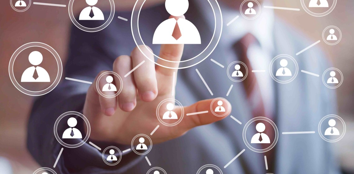 Social network interface businessman touch button.